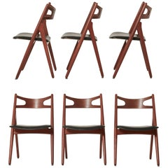 Set of Six Hans Wegner CH-29 Sawbuck Dining Chairs, Carl Hansen, Denmark, 1960s