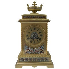 French Belle Epoque Brass and Champleve Mantel Clock