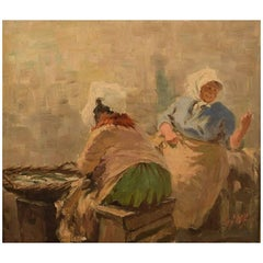 S. C. Bjulf 'Fish Mongers,' Oil on Canvas
