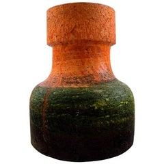 Marcello Fantoni, Italy Pottery Vase, Glaze in Orange and Dark Green Tones