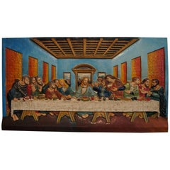 Sizeable and Colorful Cast Iron Wall Plaque of Christ and the Last Supper