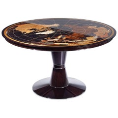 Contemporary World Map Center Table in Walnut with High Gloss Finish