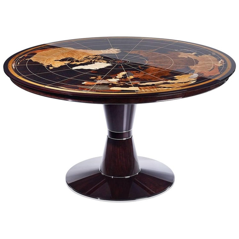 Contemporary World Map Center Table in Walnut with High Gloss Finish For Sale