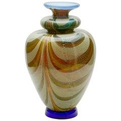 Franco Moretti Signed, circa 1960s, Murano Art Glass Flower Vase