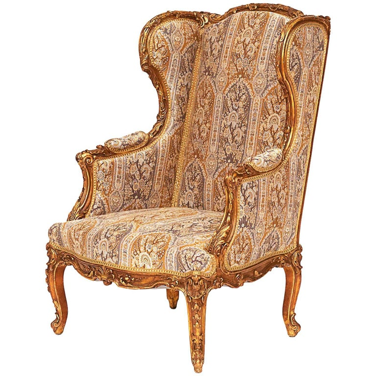 French Napoleon III Giltwood Wing Chair, circa 1870s For Sale