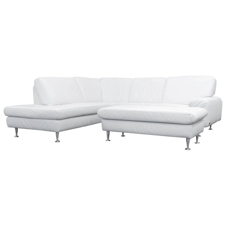 willi schillig designer corner sofa set leather white. Black Bedroom Furniture Sets. Home Design Ideas