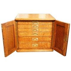 Edwardian Oak Collectors Cabinet