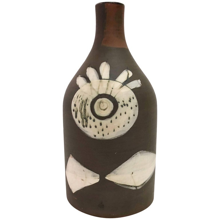 Jacques Innocenti, Vallauris, Ceramic Bottle Vase