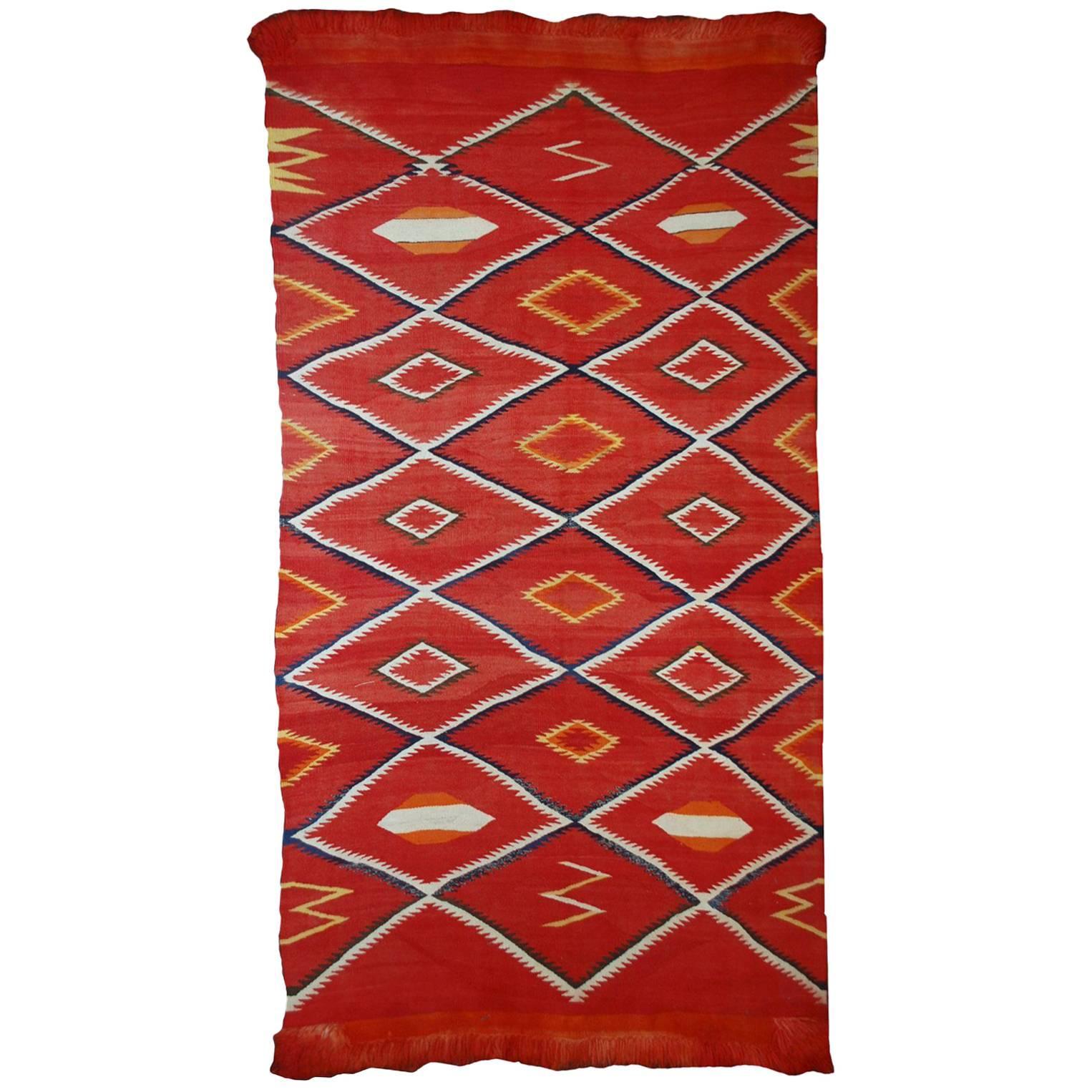 Handmade Antique Collectible Native American Navajo Blanket, 1870s, 1B557