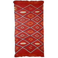 Handmade Antique Collectible Native American Navajo Blanket, 1870s