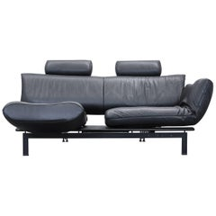 De Sede DS 140 Reto Frigg Designer Sofa Leather Black Two-Seat Function Couch