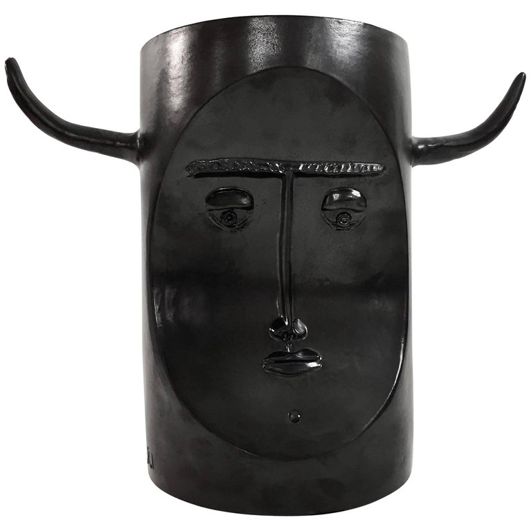 Robert and Jean Cloutier, Ceramic Bull Sculpture Glazed in Black For Sale