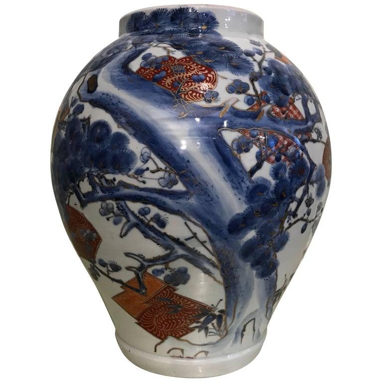Large Japanese Arita Jar For Sale