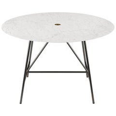 Salvatori Small W Round Dining Table in Honed Bianco Carrara Marble