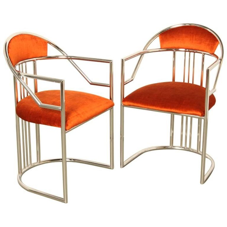 Pair of Eileen Gray Style Bent Chroom Tube Chairs