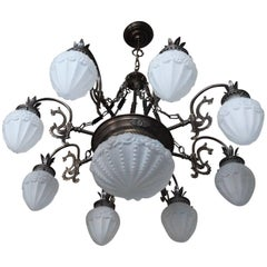 Mid-Century Large Art Nouveau Style Brass Frosted Glass Ten-Light Chandelier