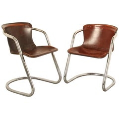 Pair of Tubular Chrome Dining-Room Chairs by Willy Rizzo for Cidue
