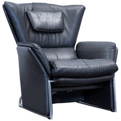 Designer Armchair Leather Black One Seat Couch Modern Function