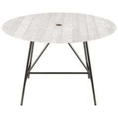 Salvatori Small W Round Dining Table Lithoverde® Bianco Carrara Marble