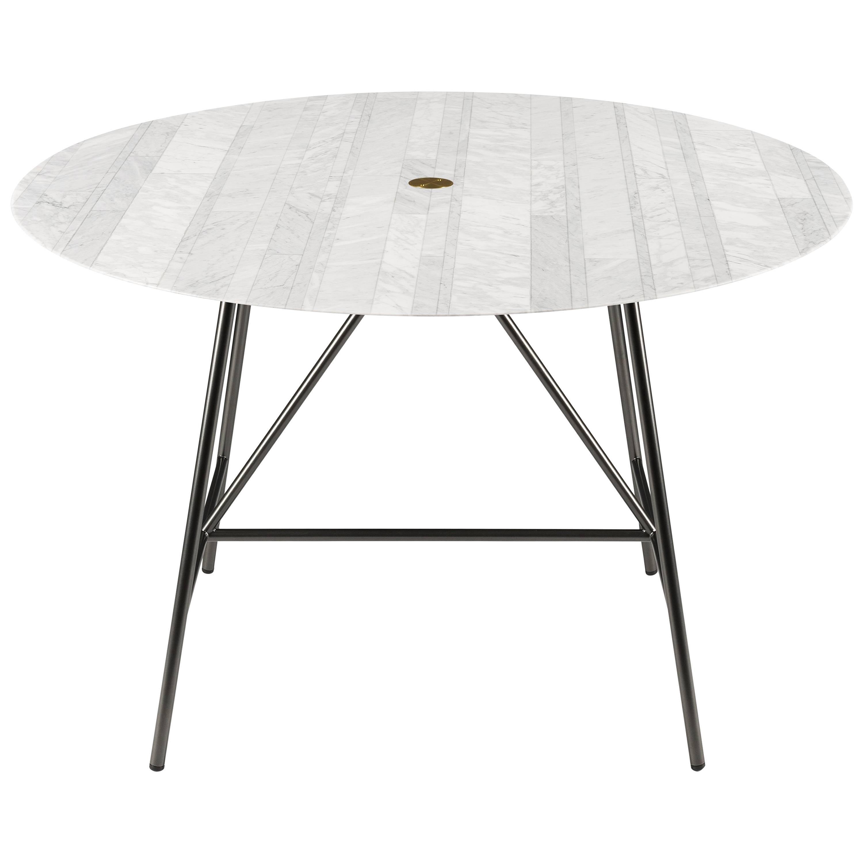 Salvatori Small W Round Dining Table Lithoverde® Bianco Carrara Marble