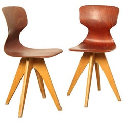Pair of School chair 'Schulmöbel' by Adam Stegner made by Pagholz Flötotto