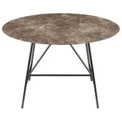 Salvatori Medium W Round Dining Table in Honed Gris du Marais Marble