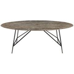 Salvatori Medium W Oval Dining Table in Lithoverde® Gris du Marais® Marble