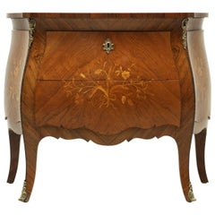 Antique Bombe Inlaid Louis XV Style Commode