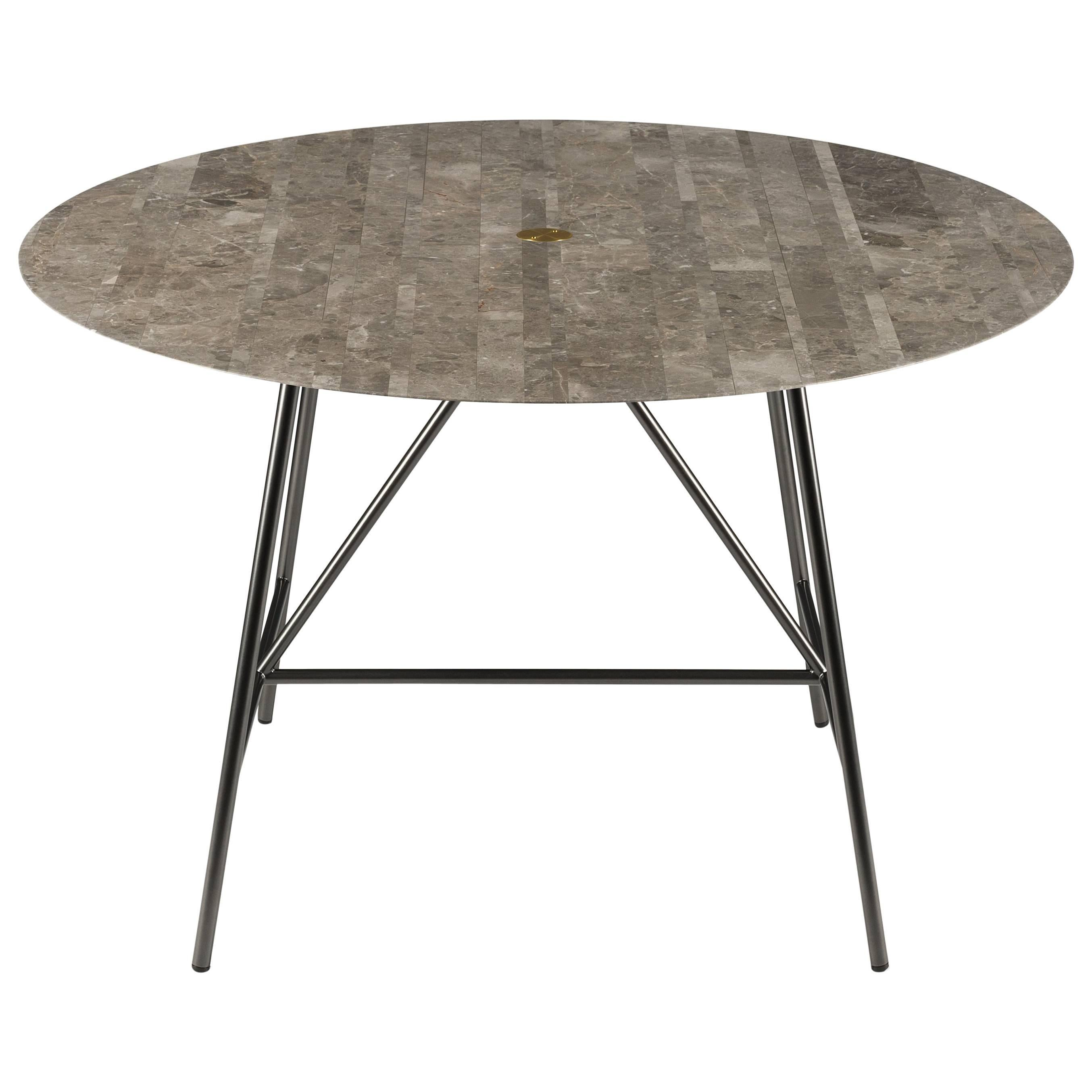 Salvatori Small W Round Dining Table In Lithoverde® Gris Du Marais Marble
