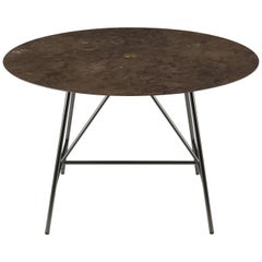 Salvatori Small W Round Dining Table in Honed Pietra d'Avola Natural Stone
