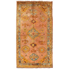 Coral and Blue Antique Turkish Oushak Rug with Sub-Geometric Pattern