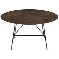 Salvatori Medium W Round Dining Table in Honed Pietra d'Avola Natural Stone