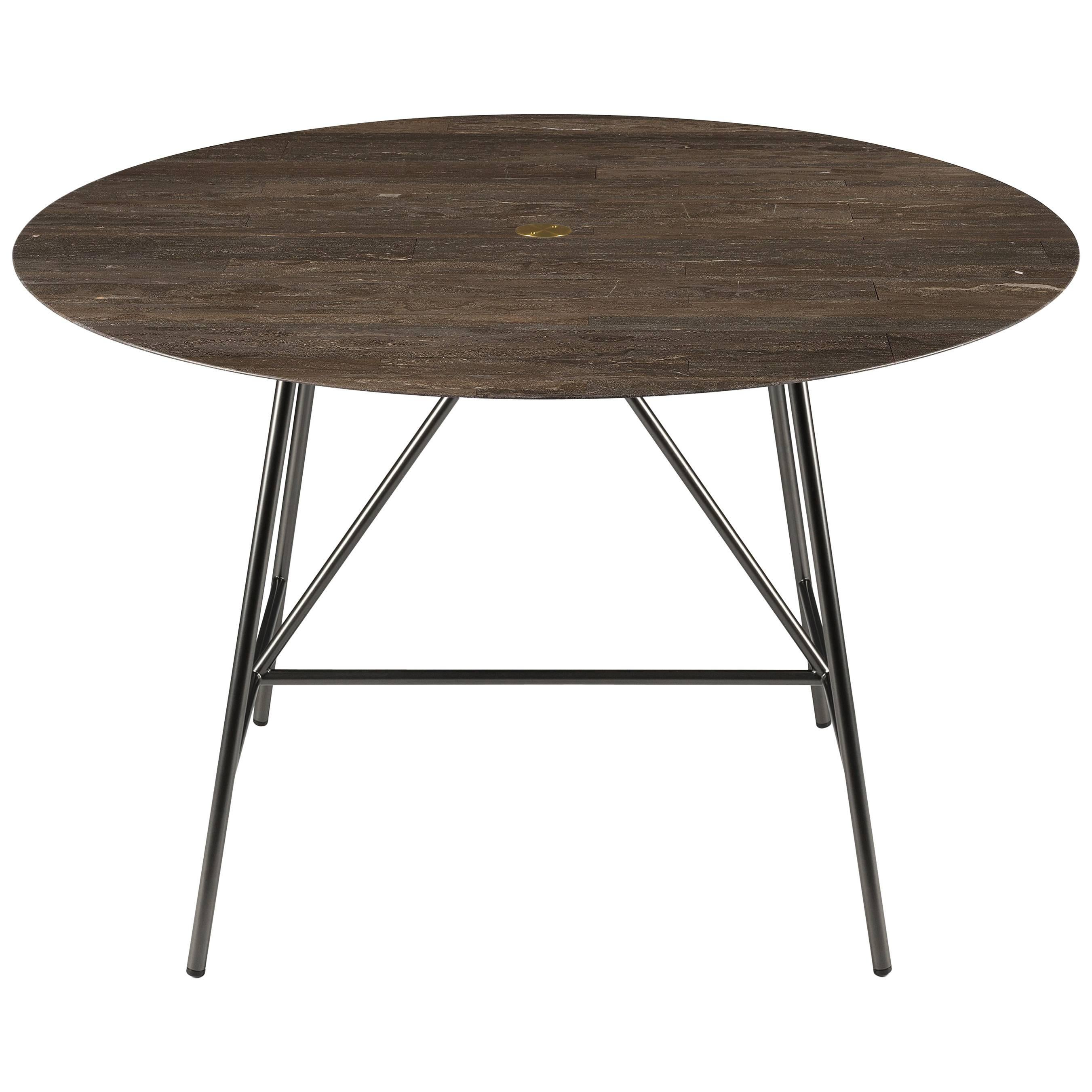 Salvatori Small W Round Dining Table In Lithoverde® Pietra Du0027Avola Natural  Stone