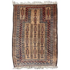 Antique Afghan Baluch Prayer Rug in Shades of Brown, Tan, Cream and Burnt Orange