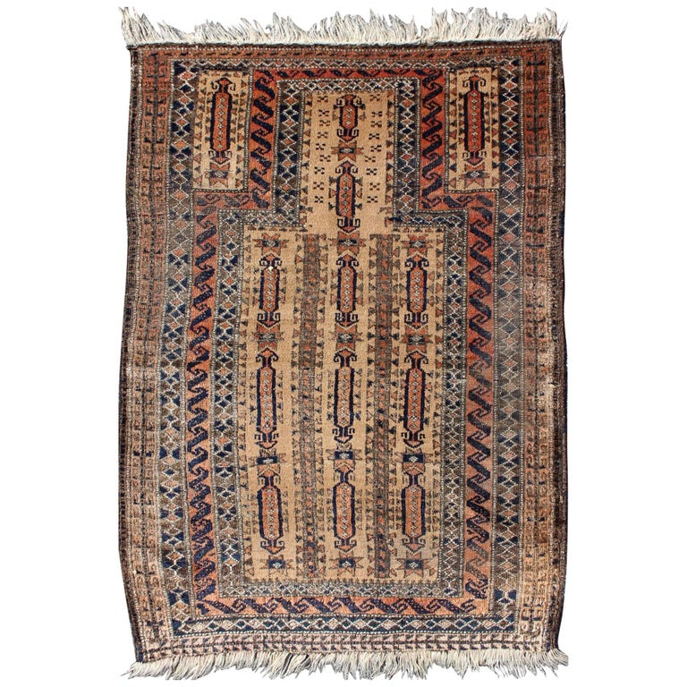 Antique Afghan Baluch Prayer Rug In Shades Of Brown Tan Cream And Burnt Orange
