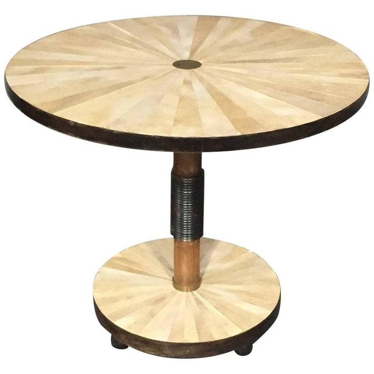 Late 1930s Radiating Parchment and Brass Side Table