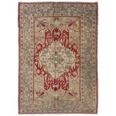 Antique Turkish Oushak Rug with Layered Floral Medallion in Red and Cream