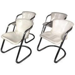 Willy Rizzo White Leather Armchairs, Italy, 1970s