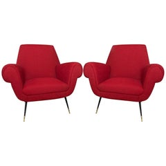 Midcentury Italian Armchairs by Gigi Radice for Minotti, Set of Two