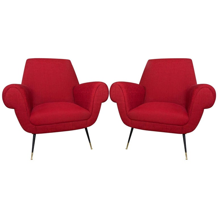 Midcentury Italian Armchairs by Gigi Radice for Minotti, Set of Two
