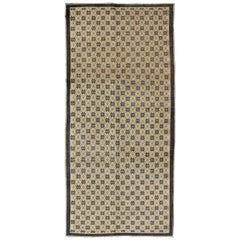 Onyx and Cream Vintage Turkish Oushak Rug with Latticework and Poinsettia Shapes