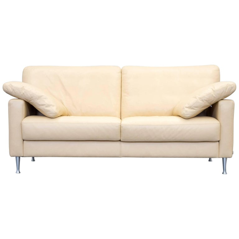 Musterring designer leather sofa beige two seat couch for Musterring sofa
