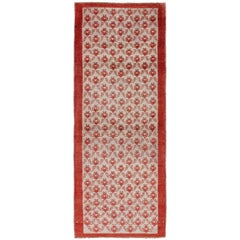 Midcentury Turkish Tulu Runner with Interconnected Blossom Design in Red, Ivory