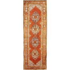 Antique Turkish Oushak Runner with Geometric Diamond Medallions