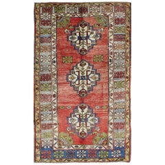 Green, Blue and Red Vintage Turkish Oushak Rug with Three Geometric Medallions