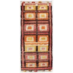 Minimalist Mid-Century Modern Turkish Tulu Rug with Red, Orange, Yellow Design