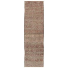 Mid-Century Modern Tulu Runner in Taupe, L.Brown, Camel, Lavender and Pink