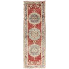 Vintage Turkish Oushak Runner with Three Floral Medallions in Red, Ivory, Grey