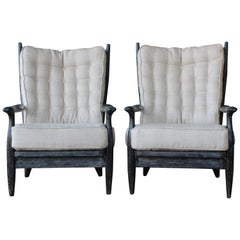 Pair of Guillerme et Chambron Black Cerused Oak 'Edouard' Chairs