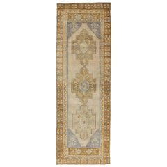 Acid Green, Taupe and Ivory Vintage Turkish Oushak Runner with Three Medallions